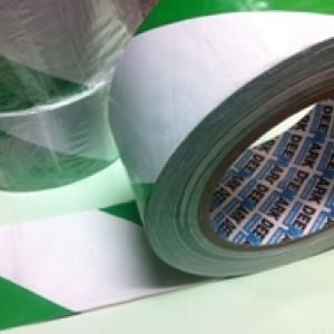 PVC Hazard Warning Tape Adhesive Green & White 25mm x 33m