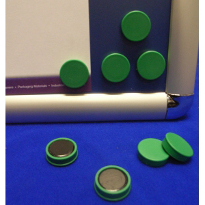 Green Memo Magnets 25mm Diameter (Pack of 10)