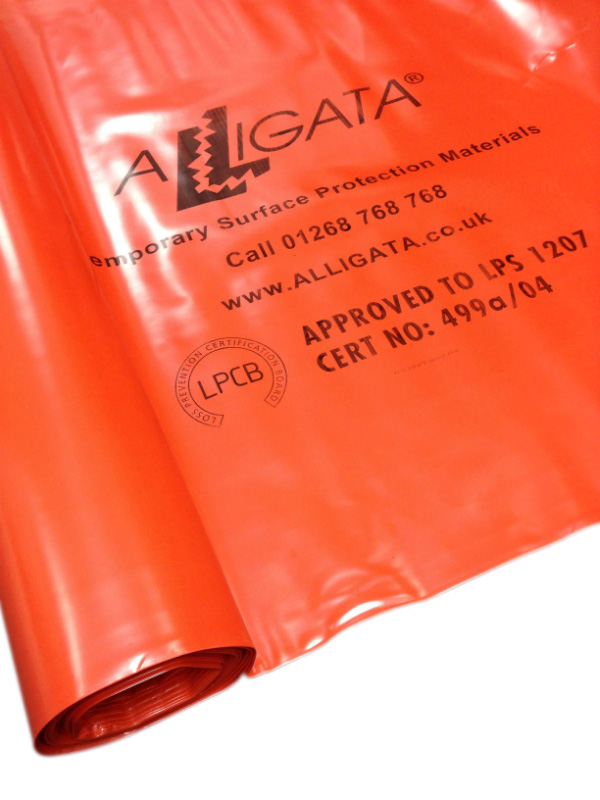 Fire / Flame Retardant Polythene Sheeting Poly Visqueen Tuffreel FR 4m x 25m 1000g (nominal) Orange LPS 1207
