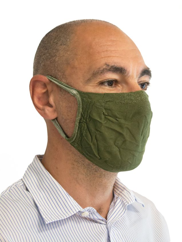 FMI Washable Reusable Face Mask / Covering Adult GREEN Antibacterial