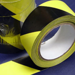 PVC Hazard Warning Tape Adhesive Black & Yellow 75mm x 33m